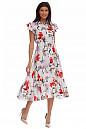 Сукня в червоно-сірі квіти з воланом. Діловий жіночий одяг