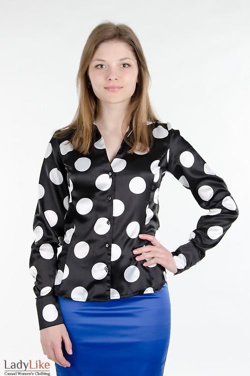 Блуза черная в крупный горох Деловая женская одежда