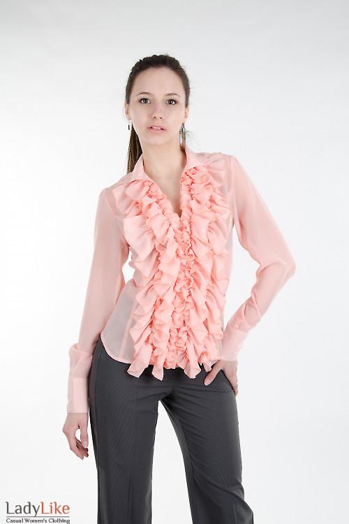 Блуза персиковая с пышными рюшами. Деловая женская одежда