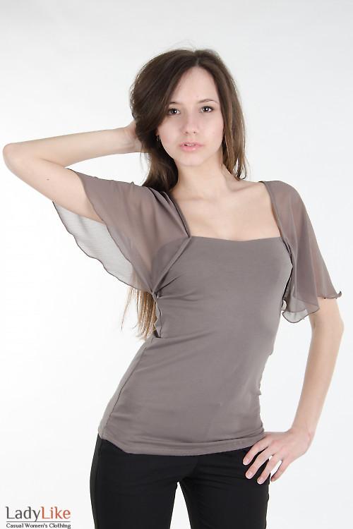 Блузка хаки с крыльями. Деловая женская одежда