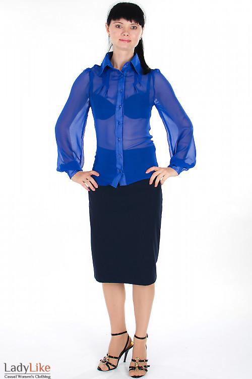Блузка из синего шифона Деловая женская одежда