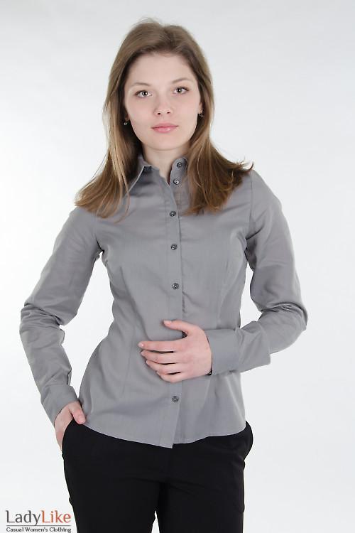 Блузка классическая серая.  Деловая женская одежда