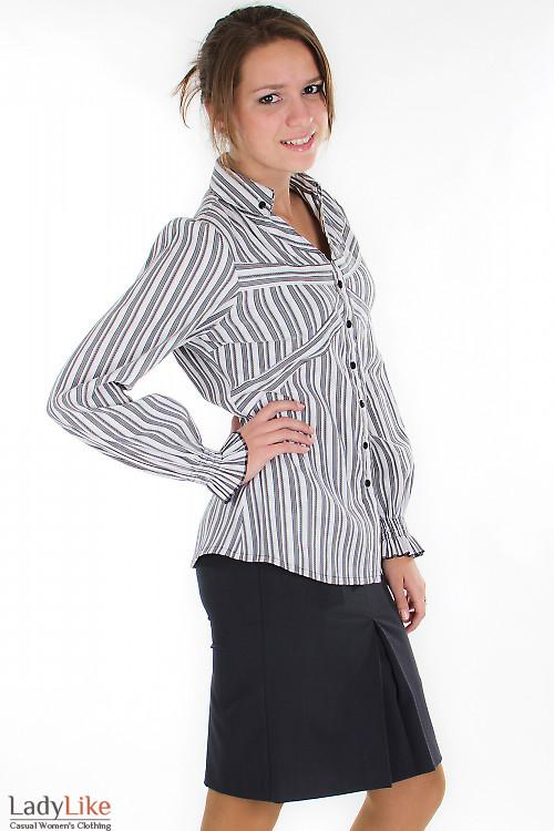 Блузка в черную полоску Деловая женская одежда
