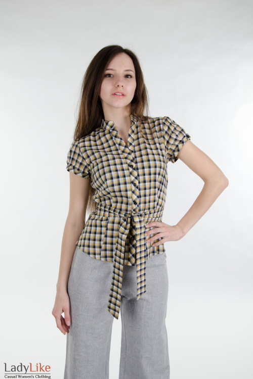 Блузка желтая с поясом. Деловая женская одежда
