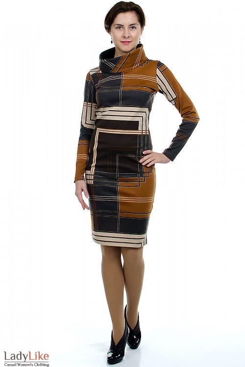 Платье трикотажное Геометрия Деловая женская одежда