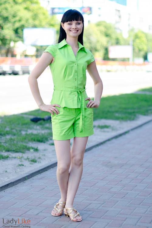Шорты салатовые Деловая женская одежда