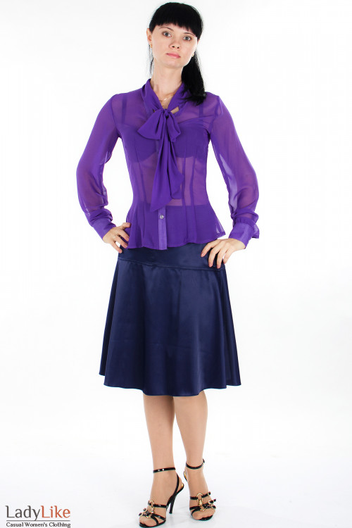 Юбка трапеция фиолетовая Деловая женская одежда
