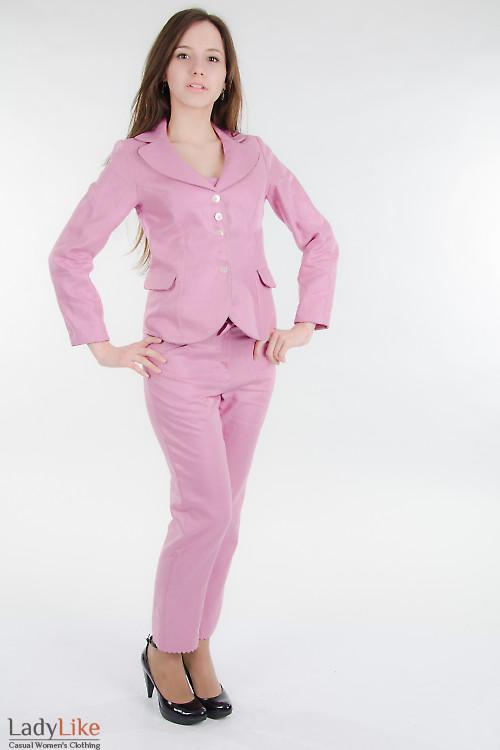 Жакет льняной розовый Деловая женская одежда
