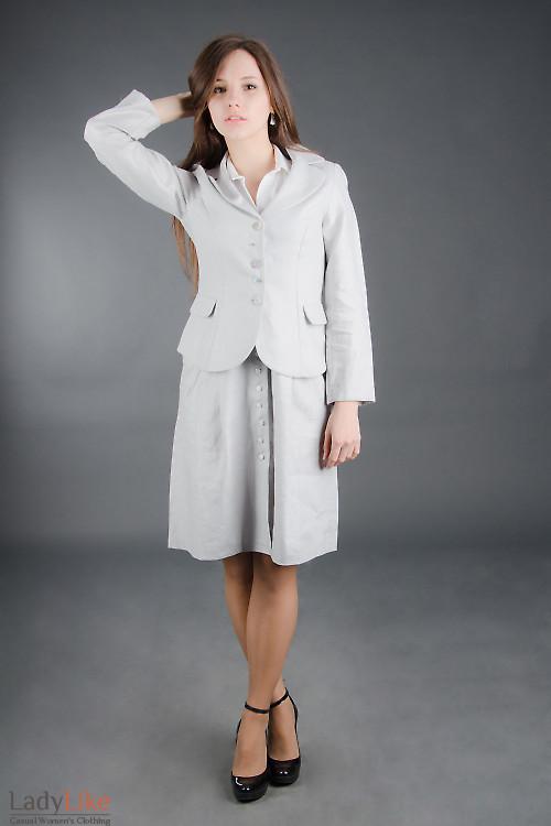 Жакет льняной светло-серый Деловая женская одежда