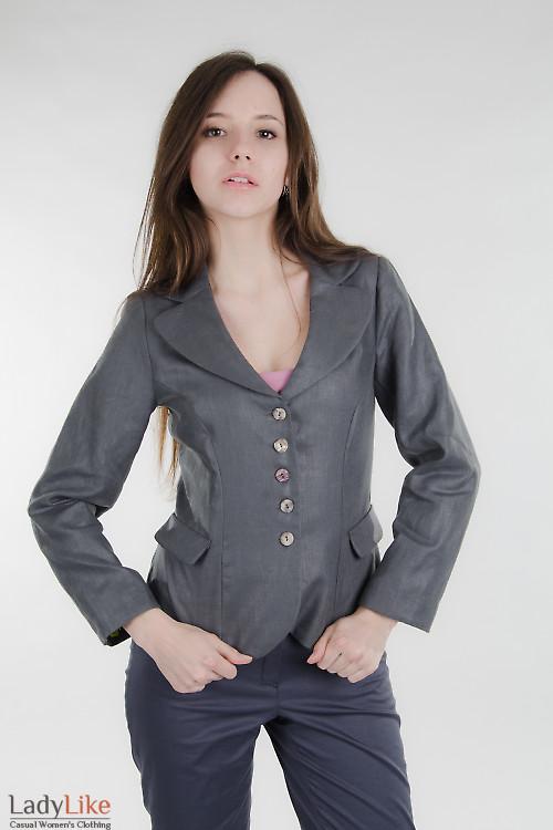 Жакет льняной темно-серый Деловая женская одежда