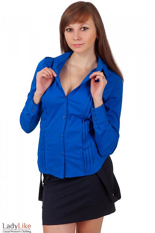 Фото Блузка синяя со складочками Деловая женская одежда