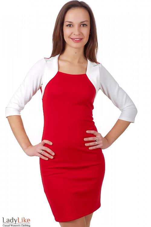 Фото Платье красное с белым болеро Деловая женская одежда