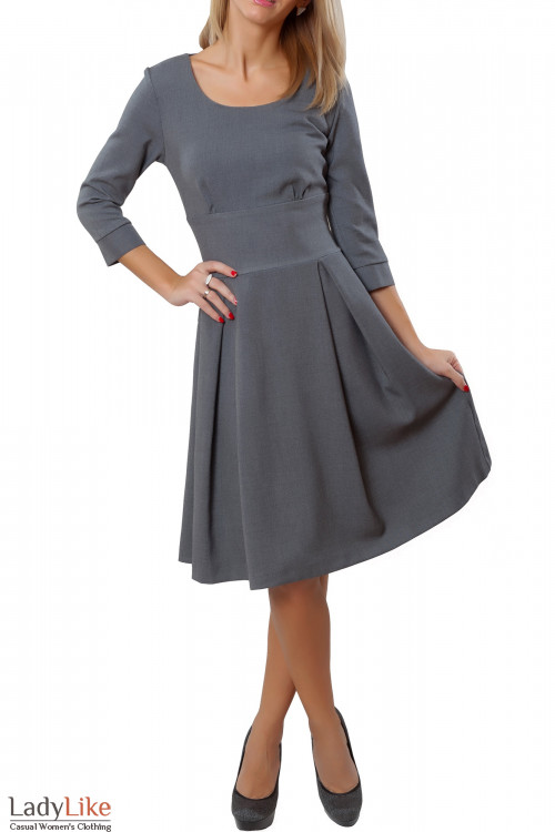 Купить платье серое с пышной юбкой. Деловая женская одежда