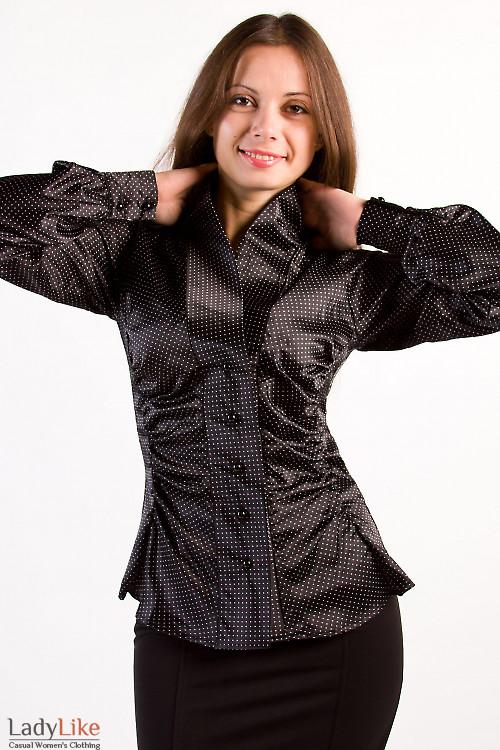 Фото Блузка черная в белый горошек Деловая женская одежда
