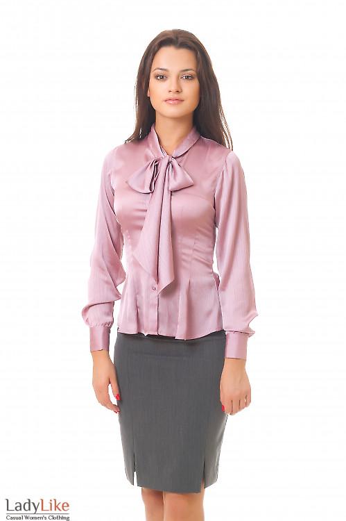 Блузка фрезовая с бантом Деловая женская одежда