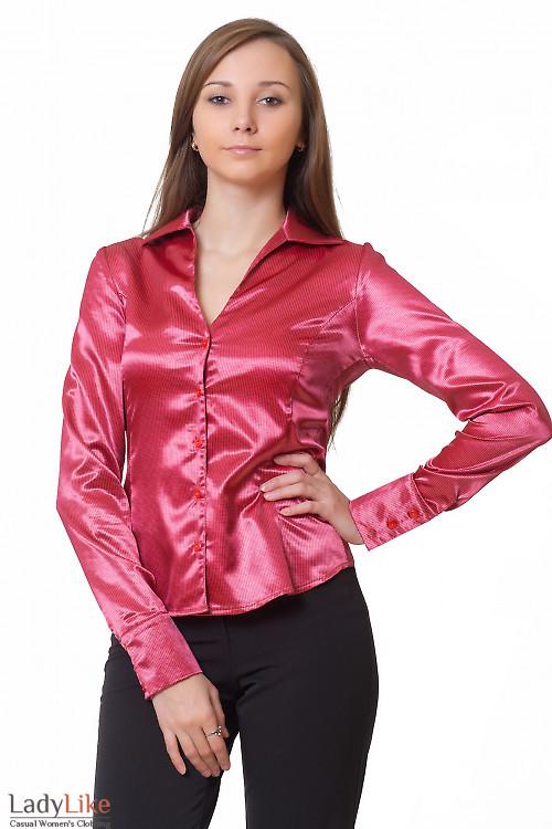 Блузка коралловая в черные кружочки Деловая женская одежда