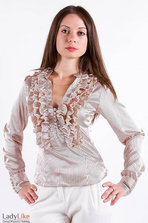 Фото Блузка нарядная из атласа Деловая женская одежда