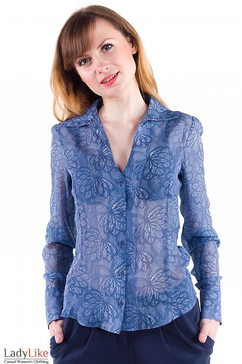 Фото Блузка синяя из шифона Деловая женская одежда