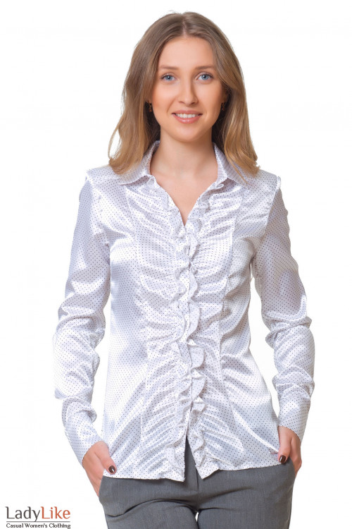 Блузка в белый горошек со сборкой Деловая женская одежда