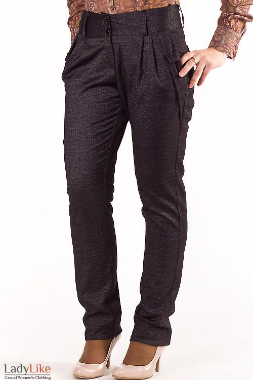Фото Брюки темно-серые с карманами-бантиками Деловая женская одежда
