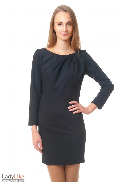 Платье черное с широким поясом Деловая женская одежда