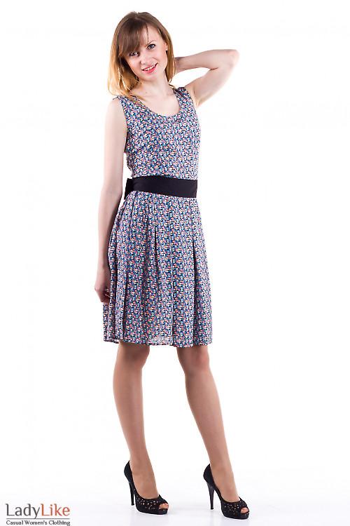 Фото Платье летнее в мелкий синий цветочек Деловая женская одежда