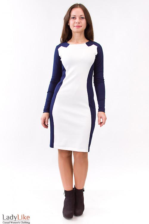 Фото Платье синее с бежевой вставкой Деловая женская одежда