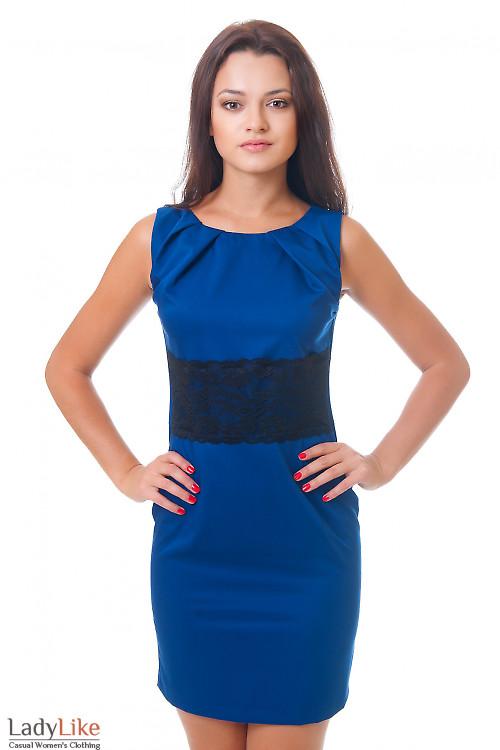 Нарядное синее платье Деловая женская одежда