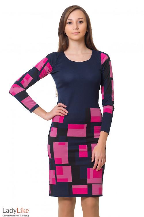 Платье синее в розовые квадраты Деловая женская одежда