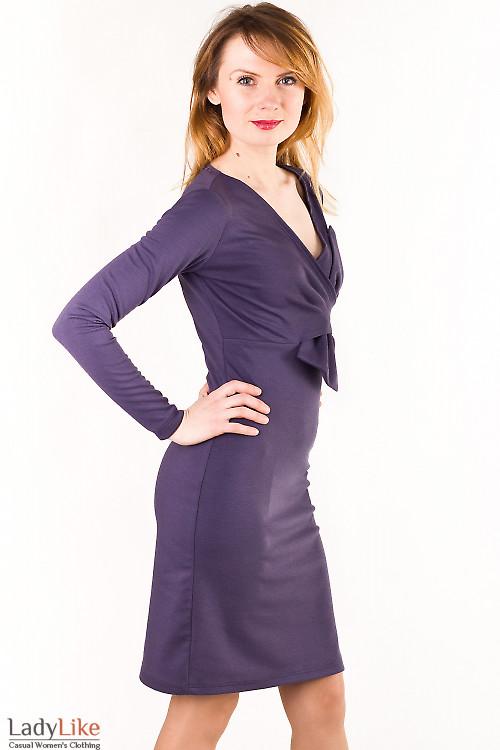 Платье сиреневое с бантом Деловая женская одежда