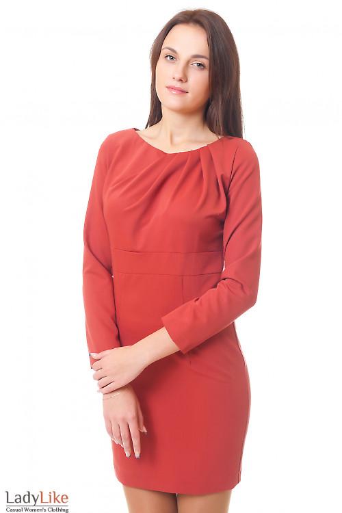 Платье терракотовое с защипами Деловая женская одежда