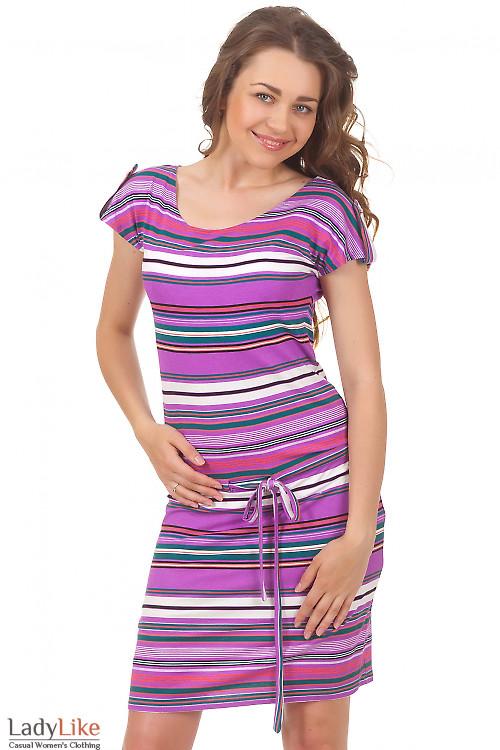 Платье в сиреневую полоску Деловая женская одежда