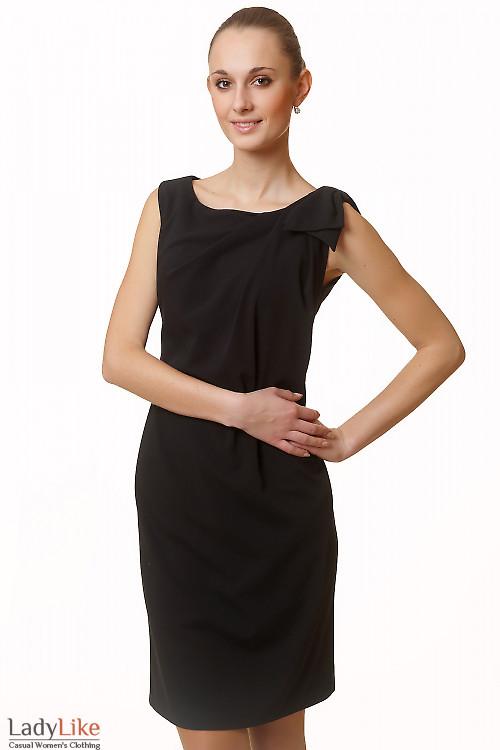 Фото Платье вечернее черное с бантиком Деловая женская одежда