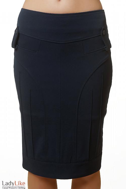 Юбка-карандаш синяя теплая Деловая женская одежда