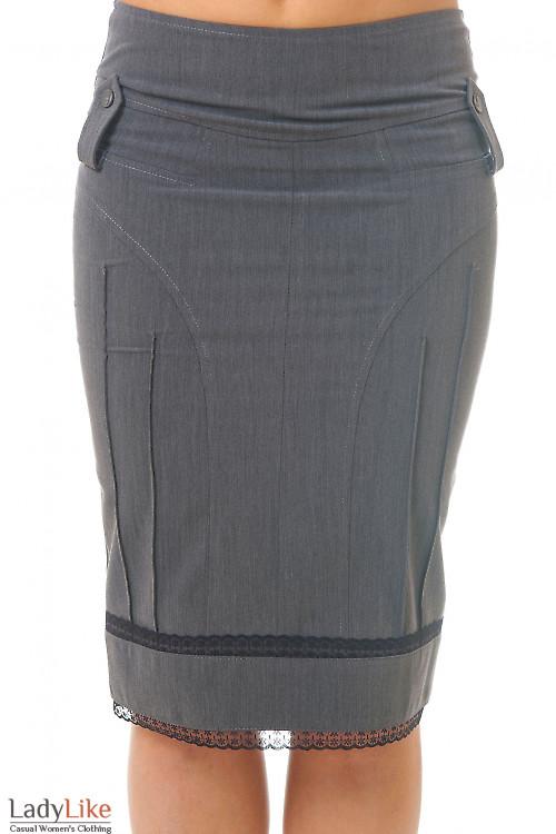 Юбка карандаш серая с черным кружевом Деловая женская одежда