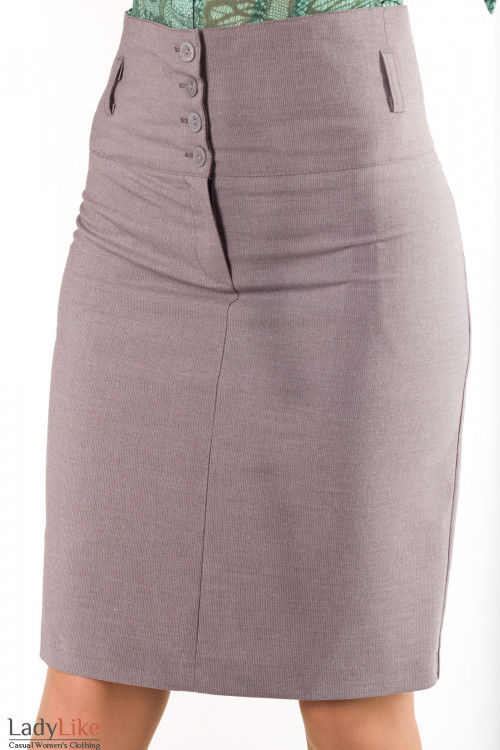Фото Юбка с завышенной талией в серую полоску Деловая женская одежда