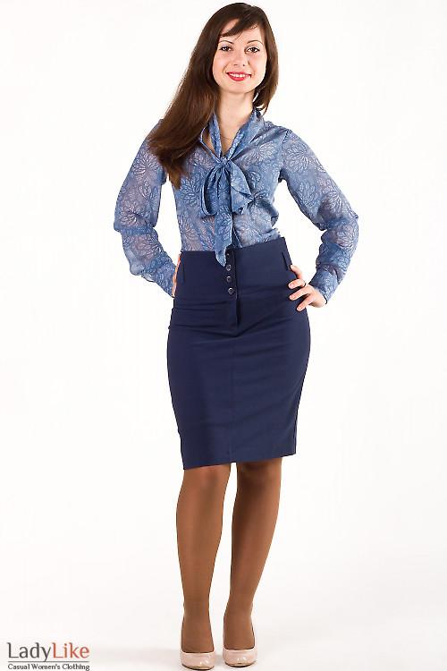 Фото Юбка синяя с завышенной талией Деловая женская одежда