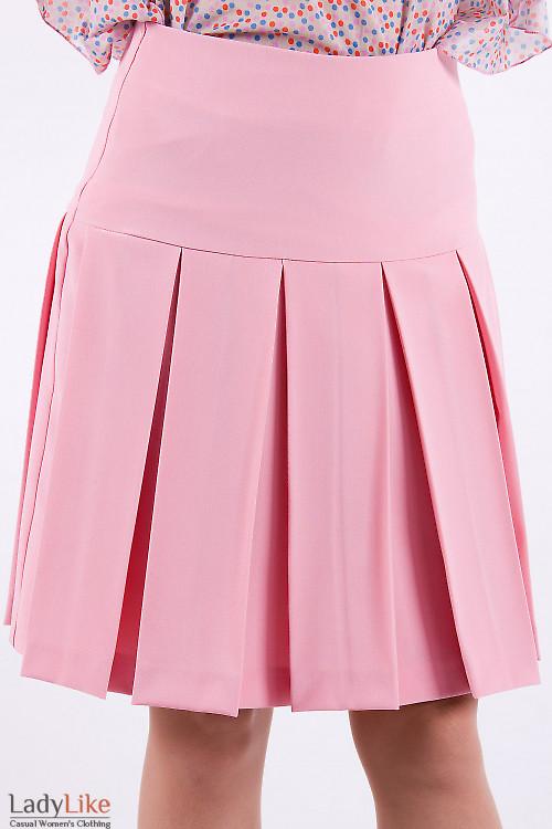 Фото Юбка в складочку розовая Деловая женская одежда