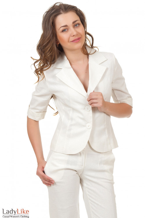 Жакет льняной молочный Деловая женская одежда