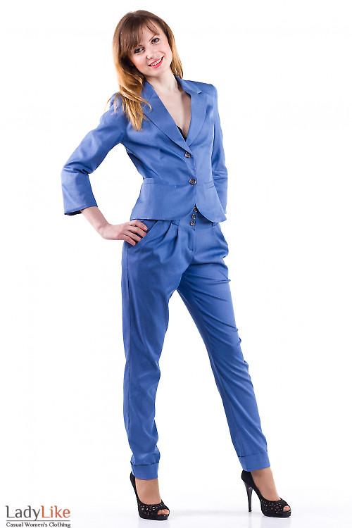 Фото Жакет синий под джинс Деловая женская одежда