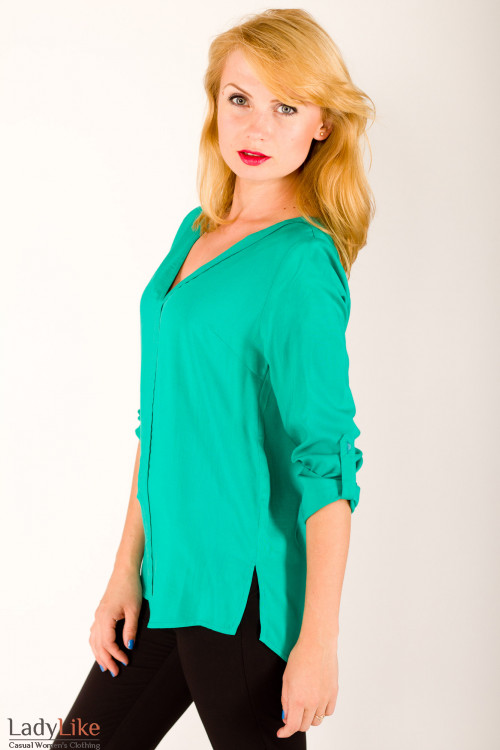 Фото Блузка из хлопка зеленая Деловая женская одежда