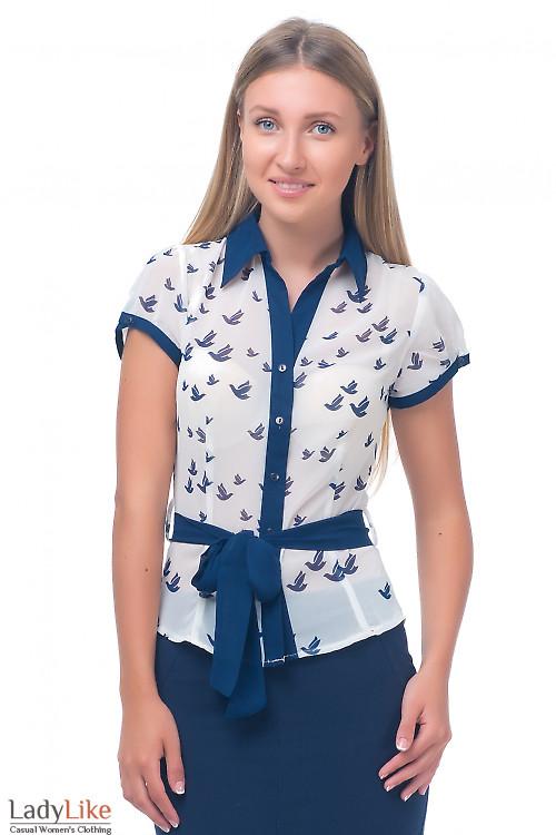 Блузка молочная с синей планкой Деловая женская одежда