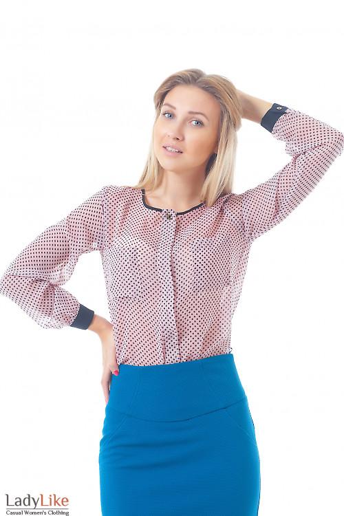 Купить блузку розовую в горошек без воротника Деловая женская одежда