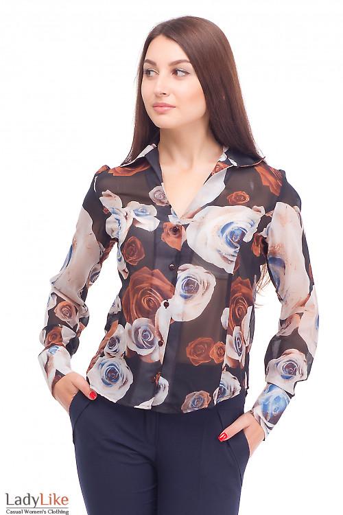 Блузка шифоновая в коричневые цветы Деловая женская одежда
