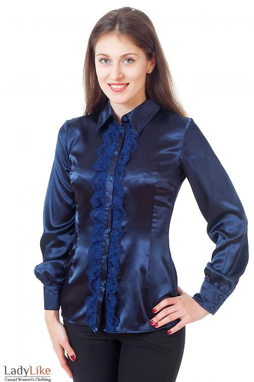 Блузка синяя атласная с кружевом Деловая женская одежда