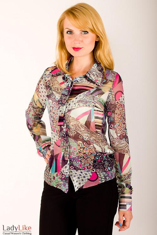 Фото Блузка со складочками по планке цветная Деловая женская одежда