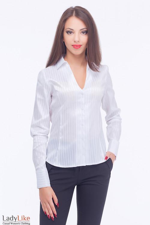 Блузка в белую атласную полоску Деловая женская одежда