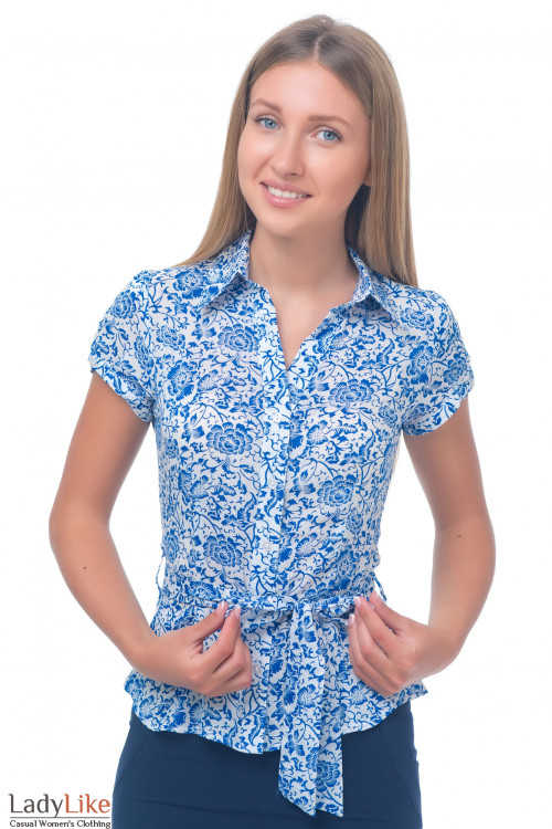 Блузка в синий орнамент Деловая женская одежда