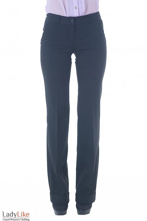 Купить брюки черные с широкой манжетой Деловая женская одежда