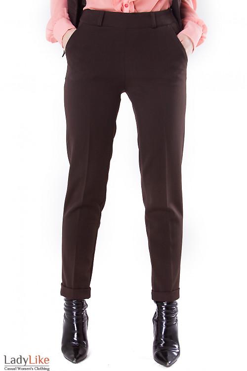 Фото Брюки коричневые с молнией сбоку Деловая женская одежда